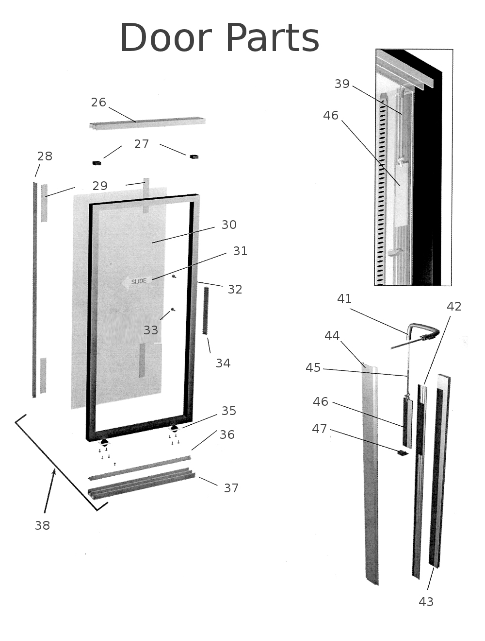 Parts Of A Door : True repair parts for glass door merchandiser